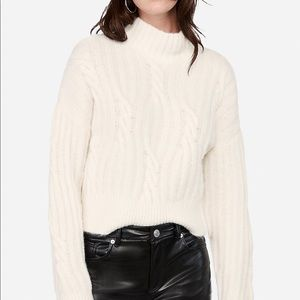 White cable knit sweater